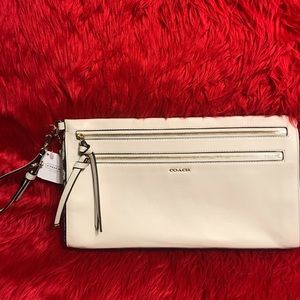 Brand New Coach White with Pebble Large Clutch